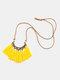 Bohemian Cotton Thread Tassel Long Necklace - #02