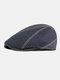 Men Felt Ear Protection Keep Warm Contrast Color Casual Forward Hat Beret Hat Flat Cap - Navy