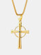 Vintage Cross Circle-shape Stainless Steel Necklace - Gold