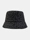 Women Cotton Leopard Pattern Print Fashion All-match Sunscreen Bucket Hat - Black