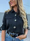 Solid Color Long Sleeve Casual Shirt For Women - Black