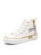 Women Casual Preppy Style Lace-up Comfy High-top Skateboard Shoes - White