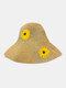 Women Wide Brim Summer Beach Holiday Daisy Printing Sunshade Straw Hat Bucket Hat - Beige