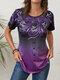 Inkjet Ethnic Gradient Print Button Front Plus Size T-shirt - Purple
