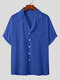 Plus Size Mens Revere Collar Casual Solid Color Short Sleeve Shirt - Blue