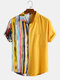 Men 100% Cotton Color Stripe Patchwork Holiday Casual Curved Hem Shirt - Yellow