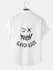 Mens Funny Face Back Print Button Up Short Sleeve Shirts - White