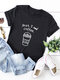 Casual Letter Print Solid Color Rolled Sleeve Plus Size T-shirt - Black