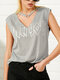 Letters Print Sleeveless Casual Ring Neck Tank Top For Women - Gray