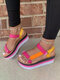 Plus Size Casual Round Toe Colorful Tie-dye Stripe Platform Sandals For Women - Rose