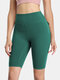 Women Solid Breathable Skinny Fit High Waist Fitness Sports Shorts With Flap Pocket - Green