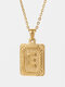 Vintage Gold Square Stainless Steel Letter Pattern Pendant - E