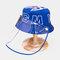 Children's Sun Hat Windproof Dust Cap Big-edge Outdoor Anti-UV Detachable Face Screen  - Blue