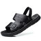 Men Slip-on Opened Toe Cowhide Leather Casual Two Ways Sandals - Black