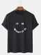 Mens Street Letter Smile Graphics 100% Cotton Short Sleeve T-Shirt - 黒