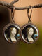 Vintage Round Glass Printed Ear Hooks Alloy Oil Painting Pendant Earrings - #04