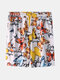 Mens Cotton Color Butterfly Print Loose Home Shorts - White