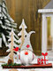 1Pc Christmas Ornaments Wooden Pine Cones Double Tree Forest Old Man Wooden Standing Desktop Ornament - Gray