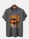 Mens Car Poster Graphic Vintage Short Sleeve 100% Cotton T-Shirts - Gray