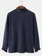 Mens Solid Color High Neck Plain Basics Long Sleeve T-Shirts - Navy