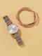 4 Pcs Ultra Thin Women Watch Inlaid Diamond Quartz Watch Chain Bracelet Set - Silver