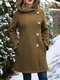Solid Color Long Sleeves Hooded Warm Coat With Pocket For Women - Khaki