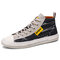 Men Washed Canvas High Top Lace Up Breathable Sneakers - Black