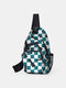 Stylish Dacron Checkerboard Chess Combination Pattren Large Capacity Chest Bag - Blue
