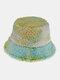 Women & Men Felt Lamb Fur Tie-dye Plus Thicken Warm Windproof Soft Bucket Hat - Green