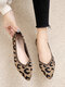 Women Leopard Print Pointed Toe Ballet Shoes Knitted Fabric Breathable Loafers Casual Soft Sole Flats - Khaki