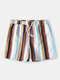 Multi-Color Striped Shorts Loose Lightweight Quick Drying Mid Length Casual Shorts for Men - Blue