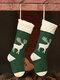 Women Christmas Knitted Socks Gift Bag Home Decoration Wool Elk Candy Bag - Green