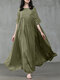 Women Solid Color Patchwork Half Sleeves Casual Maxi Dress - Green