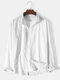 Mens Solid Color Button Up Cotton Linen Basics Long Sleeve Shirts - White