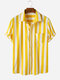 Men Four Colors Short Sleeve Casual Striped Designer Shirts - Yellow