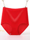 Plus Size High Waisted Butt Lifter Breathable Seamless Panties - Red