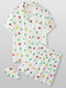 Women All Over Geometry Print Revere Collar Eye Cover Home Pajama Sets - White