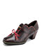 Socofy Retro Bowknot Floral Print Embossed Genuine Leather Elastic Band Patchwork Slip On Square Toe Chunky Heel Pumps - Dark Brown