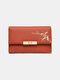Women Plant Money Clips Coin Purse Wallet - Red