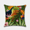 Tropical Flower Pillowcase Flamingo Parrot Leaf Digital Printing Linen Without Core - #4
