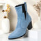 Plus Size Women Casual Solid Color Simple Pointed Toe Zipper Chunky Heel Chelsea Boots - Blue