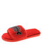 Women Casual Warm Funny Cat And Fish Asymmetry Pattern Crystals Plush Home Slippers - Red