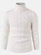 Mens Twisted Knitted High Neck Solid Color Casual Basic Sweater - White