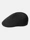 Unisex Dacron Knitted Solid Color Jacquard Breathable Casual Beret Flat Caps - Black