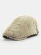 Men Cotton Embroidery Cap Outdoor Leisure Wild Forward Hat Flat Cap - Beige