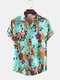Mens Vintage Floral Oil Printting Short Sleeve Shirts - Green