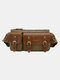 Vintage Canvas Three Buckles Front Chest Bag Belt Bag - Coffee