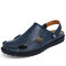 Men Closed Toe Hand Stitching Outdoor Beach Water Sandals - Blue