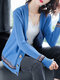 Tribal Pattern Button Long Sleeve Knitted V-neck Cardigan - Blue