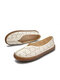 Literature and Art Retro Hollow out Round Toe Casual  Comfortable Flats - White